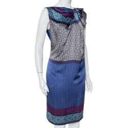 Emporio Armani Blue Printed Silk Draped Neck Detail Shift Dress M