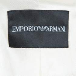 Emporio Armani Cream ZigZag Topstitch Detail Pintucked Blazer M