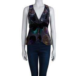Emporio Armani Multicolor Devore Abstract Print Bow Detail Sleeveless Top S