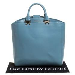 Emporio Armani Light Blue Leather Shopper Tote