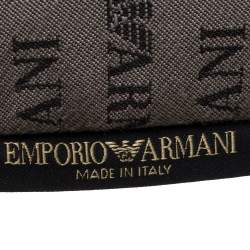 Emporio Armani Grey/Black Monogram Canvas Pouch