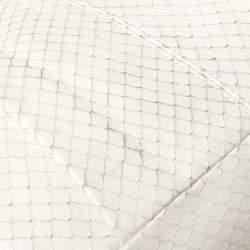 Emporio Armani Pear White Snakeskin Effect Leather Logo Flap Satchel