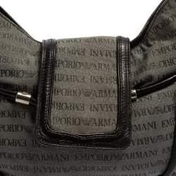 Emporio Armani Black/Grey Monogram Canvas and Leather Hobo