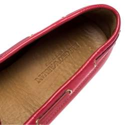 Emporio Armani Pink Leather Bow Loafers Size 40