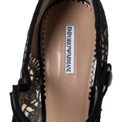 Emporio Armani Black Patent Leather And Lace Mary Jane Platform Pumps Size 39