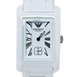 Emporio Armani White Ceramic Stainless Steel AR1409 Women's Wristwatch 25 mm
