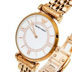 Emporio Armani Mother Of Pearl Gold Plated Stainless Steel Classic AR1909 Women's Wristwatch 32 mm