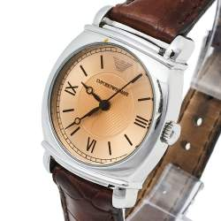 Emporio Armani Brown Stainless Steel & Leather AR0277 Women's Wristwatch 29 mm