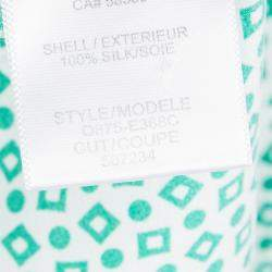 Equipment Green Printed Contrast Trim Detail Long Sleeve Silk Blouse M