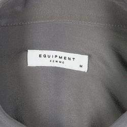 Equipment Gunmetal Grey Silk Long Sleeve Button Front Signature Blouse M
