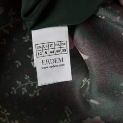 Erdem Green Floral Printed Silk Gazar Ruffled Bottom Alouette Gown M