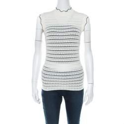 Erdem Cream Pointelle Knit Sleeveless Mariana Top S