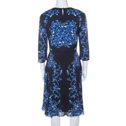Erdem Navy Blue Lillie Printed Silk Crepe Dress M