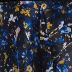 Erdem Blue Floral Print Silk Gazar Levinia Gathered Skirt M