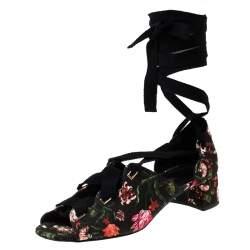 Erdem Black Floral Canvas Cut Out Lace Up Sandals Size 38
