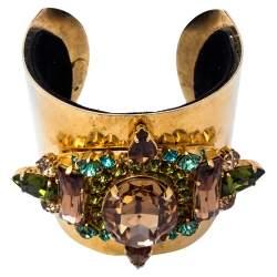 Erickson Beamon Gold Tone Crystal Embellished Open Cuff Bracelet