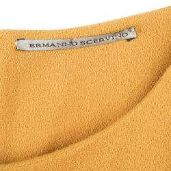Ermanno Scervino Mustard Yellow Ruffle Bottom Sleeveless Wool Dress M