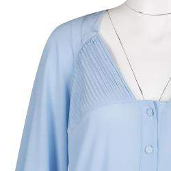 Ermanno Scervino Powder Blue Silk Pintuck Detail Long Sleeve Tunic M