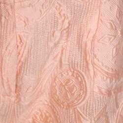 Ermanno Scervino Peach Jacquard Cotton Silk Ombre Bermuda Shorts S