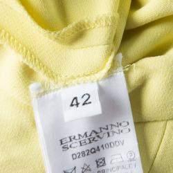 Ermanno Scervino Yellow Neck Tie Detail Sleeveless Dress M