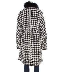 Ermanno Scervino Monochrome Houndstooth Pattern Knit Fox Fur Collar Coat L