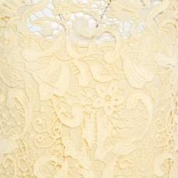 Ermanno Scervino Yellow Guipure Lace Sleeveless Flounce Dress S