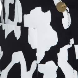 Escada Monochrome Abstract Printed Cotton Bariska Blazer M