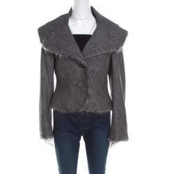 Escada Grey Wool Tinsel Trim Tailored Blazer M