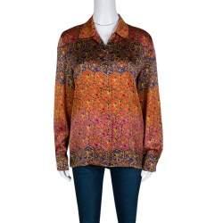 Escada Vintage Multicolor Printed Silk Long Sleeve Shirt M