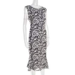 Escada Monochrome Lace Printed Silk Sleeveless Flounce Midi Dress XL