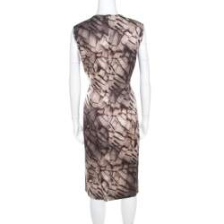 Escada Grey Mosaic Print Textured Silk Wool Sheath Dress L
