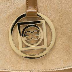 Escada Brown/Beige Leather and Calfhair Shoulder Bag