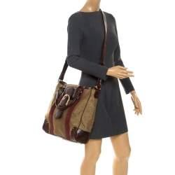Escada Metallic Gold Nylon and Leather Buckle Flap Shoulder Bag