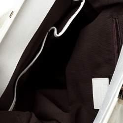 Escada White Crackled Patent Leather Frame Hobo