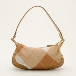 Escada Tan and White Calf Hair Argyle Shoulder Bag