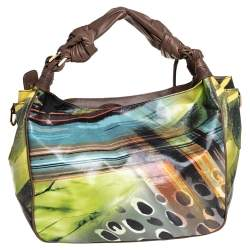 Escada  Multicolor Printed Coated Canvas and Leather Knotted Handle Hobo
