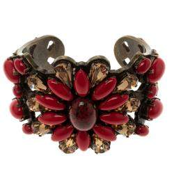 Etro Red Cabochon & Crystal Flower Statement Open Cuff Bracelet