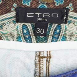 Etro Multicolor Printed Denim Skinny Jeans M