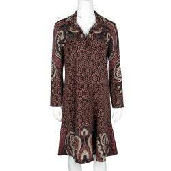 Etro Multicolor Printed Wool Crepe Long Sleeve Flared Bottom Dress M