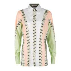 Etro Colorblock Printed Cotton Long Sleeve Button Front Shirt M