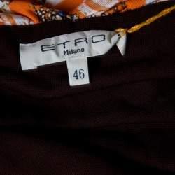 Etro Printed Multicolor Printed Knit Draped Maxi Skirt L