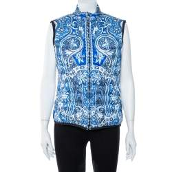 Etro Blue Paisley Print Quilted Puffer Vest M