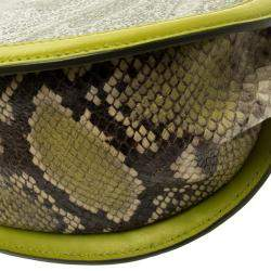Etro Green Paisly Coated Canvas and Python Embossed Leather Crossbody Bag