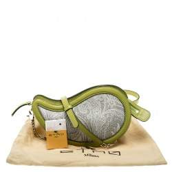 Etro Grey/Green Paisly Coated Canvas and Python Embossed Leather Crossbody Bag