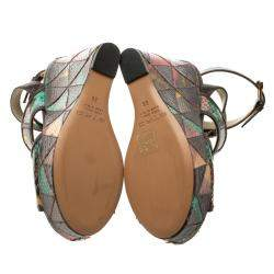 Etro Multicolor Embossed Python Leather Ankle Strap Wedge Sandals Size 36