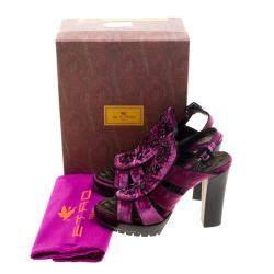 Etro Purple Velvet Embellished Platform Sandals Size 40