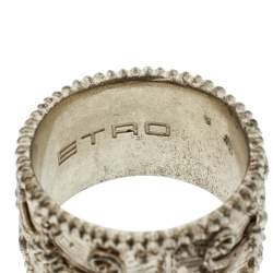 Etro Textured Gold Tone Wide Band Ring Size 61