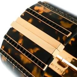 Etro Crystal Resin Gold Tone Wide Cuff Bracelet