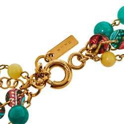 Etro Multicolor Multistrand Beads Gold Tone Necklace