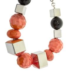Etro Orange Chunky Beaded Silver Tone Necklace